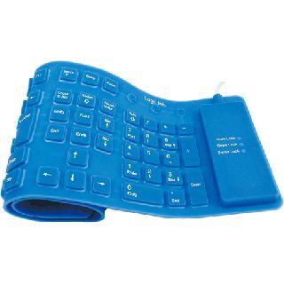 LogiLink Flexible Waterproof Keyboard PS/2 & USB Deutsch blau