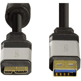 1.80m Hama USB3.0 Anschlusskabel USB A Stecker auf USB mikroB Stecker