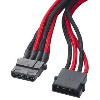 BitFenix Molex zu 3x Molex Adapter 55 cm - sleeved schwarz/rot/schwarz