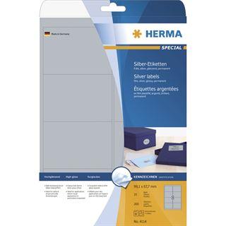 Herma 4114 silber Universal-Etiketten 9.91x6.67 cm (25 Blatt (200
