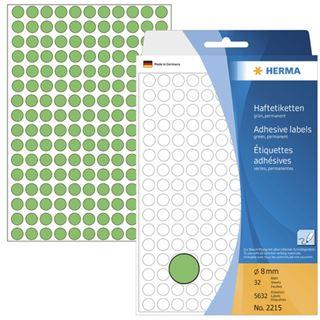 Herma 2215 gruen rund Vielzwecketiketten 0.8x0.8 cm (32 Blatt (5632
