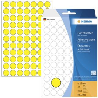 Herma 2231 gelb rund Vielzwecketiketten 1.3x1.3 cm (32 Blatt (2464
