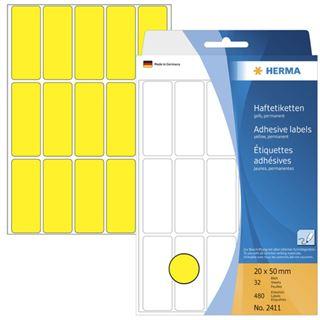 Herma 2411 gelb Vielzwecketiketten 2x5 cm (32 Blatt (480 Etiketten))