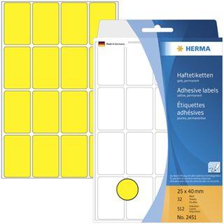 Herma 2451 gelb Vielzwecketiketten 2.5x4 cm (32 Blatt (512 Etiketten))