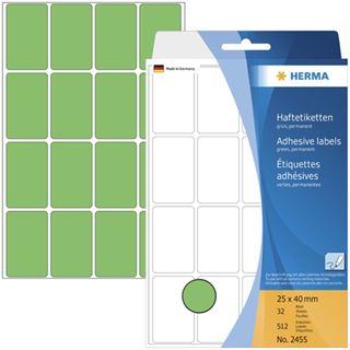 Herma 2455 gruen Vielzwecketiketten 2.5x4 cm (32 Blatt (512