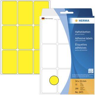 Herma 2471 gelb Vielzwecketiketten 3.4x5.3 cm (32 Blatt (288
