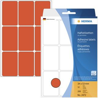 Herma 2472 rot Vielzwecketiketten 3.4x5.3 cm (32 Blatt (288