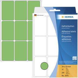Herma 2475 gruen Vielzwecketiketten 3.4x5.3 cm (32 Blatt (288