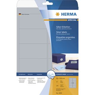 Herma 4099 silber Universal-Etiketten 9.6x5.08 cm (25 Blatt ( 250