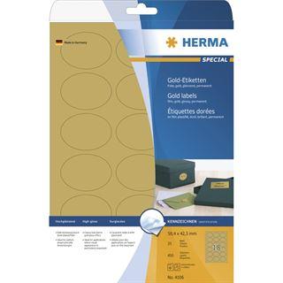 Herma 4106 gold oval folie Universal-Etiketten 5.84x4.23 cm (25 Blatt