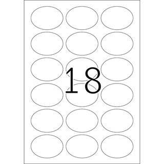 Herma 4116 silber oval folie Universal-Etiketten 5.84x4.23 cm (25