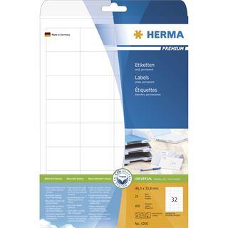 Herma 4200 Premium Universal-Etiketten 4.83x3.38 cm (25 Blatt (800