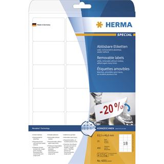 Herma 4203 ablösbar Universal-Etiketten 6.35x4.66 cm (25 Blatt