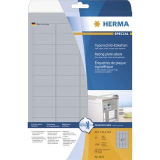 Herma 4221 silber extrem stark haftend Typenschild-Etiketten