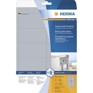 Herma 4223 silber Typenschild-Etiketten 9.6x5.08 cm (25 Blatt ( 250