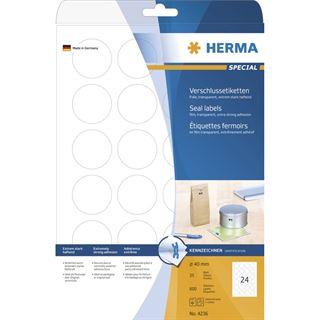 Herma 4236 transparent Verschlussetiketten 4x4 cm (25 Blatt (600