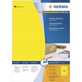 Herma 4256 gelb Universal-Etiketten 10.5x3.7 cm (100 Blatt (1600