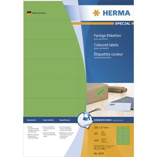 Herma 4259 grün Universal-Etiketten 10.5x3.7 cm (100 Blatt (1600