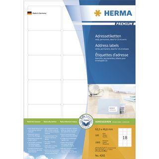 Herma 4265 Adressetiketten 6.35x4.66 cm (100 Blatt (1800 Etiketten))
