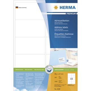 Herma 4268 Premium Adressetiketten 9.91x5.7 cm (100 Blatt (1000