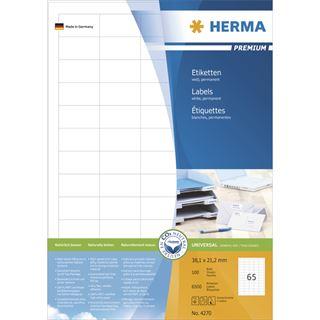 Herma 4270 Premium Universal-Etiketten 3.81x2.12 cm (100 Blatt (6500