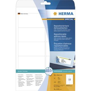 Herma 4349 Adressetiketten 9.6x5.08 cm (25 Blatt ( 250 Etiketten))