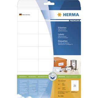 Herma 4361 Premium Universal-Etiketten 7x4.2 cm (25 Blatt (525