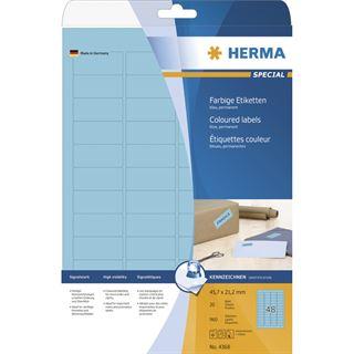 Herma 4368 blau Universal-Etiketten 4.57x2.12 cm (20 Blatt (960