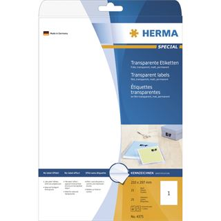 Herma 4375 Folie Transparent-Etiketten 21.0x29.7 cm (25 Blatt (25