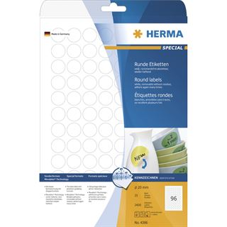Herma 2400 rund Universal-Etiketten 2x2 cm (25 Blatt (2400 Etiketten))