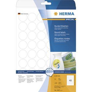 Herma 4387 rund ablösbar Universal-Etiketten 3x3 cm (25 Blatt