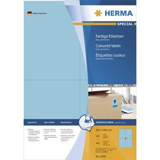Herma 4398 blau Universal-Etiketten 10.5x14.8 cm (100 Blatt (400