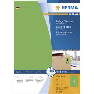 Herma 4399 grün Universal-Etiketten 10.5x14.8 cm (100 Blatt (400