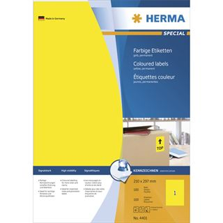 Herma 4401 gelb Universal-Etiketten 21.0x29.7 cm (100 Blatt (100