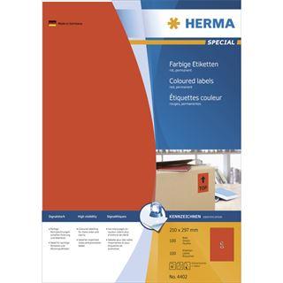 Herma 4402 rot Universal-Etiketten 21.0x29.7 cm (100 Blatt (100