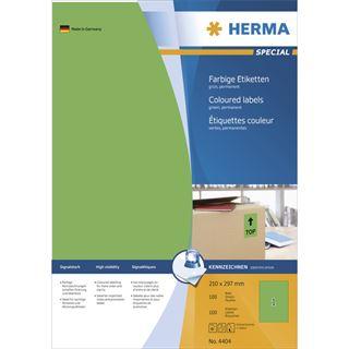 Herma 4404 grün Universal-Etiketten 21.0x29.7 cm (100 Blatt (100