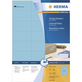 Herma 4408 blau Universal-Etiketten 7.0x3.7 cm (100 Blatt (2400
