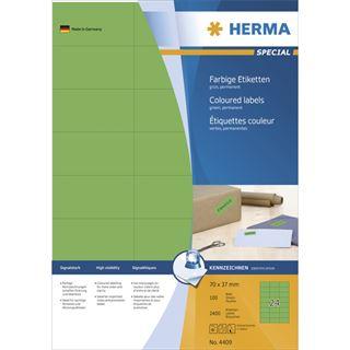 Herma 4409 grün Universal-Etiketten 7.0x3.7 cm (100 Blatt (2400