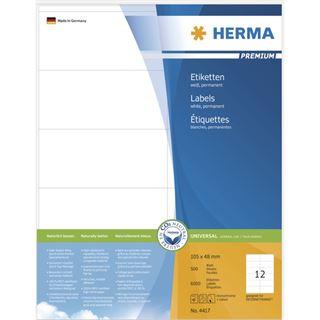 Herma 4417 Premium Universal-Etiketten 10.5x4.8 cm (500 Blatt (6000