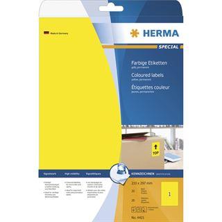 Herma 4421 gelb Universal-Etiketten 21.0x29.7 cm (20 Blatt (20