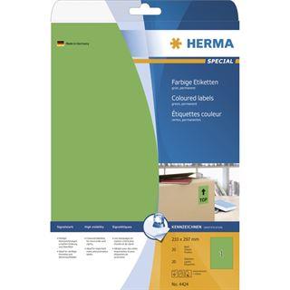 Herma 4424 grün Universal-Etiketten 21.0x29.7 cm (20 Blatt (20