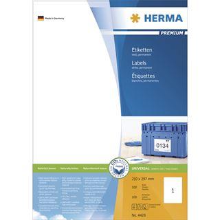 Herma 4428 Premium Universal-Etiketten 21.0x29.7 cm (100 Blatt (100