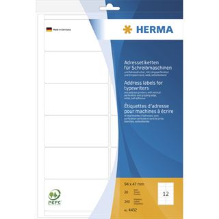 Herma 4432 Ecken Adressetiketten für Schreibmaschinen 9.4x4.7 cm