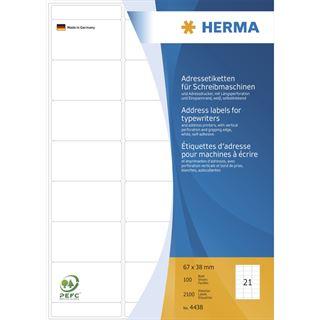 Herma 4438 Adressetiketten für Schreibmaschinen 6.7x3.8 cm (100
