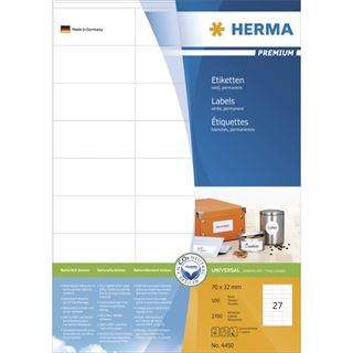 Herma 4450 Premium Universal-Etiketten 7.0x3.2 cm (100 Blatt (2700