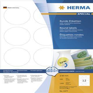 Herma 4477 rund ablösbar Universal-Etiketten 6.0x6.0 cm (100