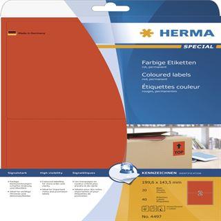 Herma 4497 rot Universal-Etiketten 19.96x14.35 cm (20 Blatt (40