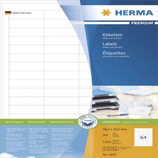 Herma 4607 Premium Universal-Etiketten 4.83x1.69 cm (200 Blatt (12800