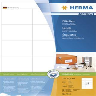 Herma 4618 Premium Universal-Etiketten 7x5.08 cm (200 Blatt (3000