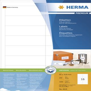 Herma 4619 Premium Universal-Etiketten 9.7x3.38 cm (200 Blatt (3200